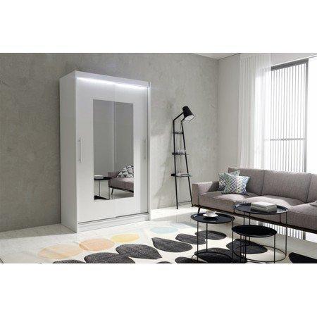 Kvalitní šatní skříň KOLA 6 bílá šířka 120 cm Včetně LED osvětlení
