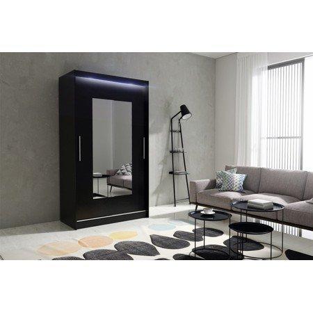 Kvalitní šatní skříň KOLA 6 černá šířka 120 cm Včetně LED osvětlení