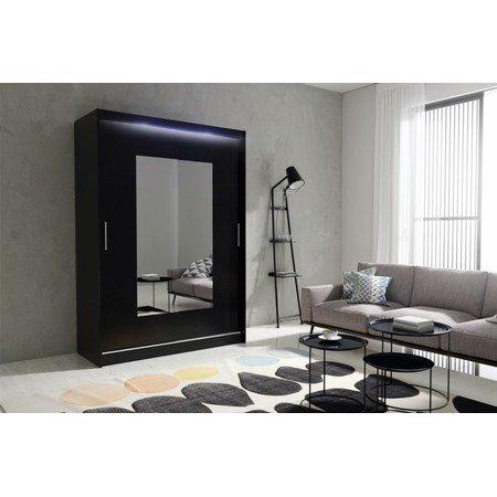Kvalitní šatní skříň KOLA 6 černá šířka 150 cm Včetně LED osvětlení