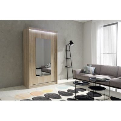 Kvalitní šatní skříň KOLA 6 dub sonoma šířka 120 cm Včetně LED osvětlení