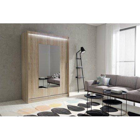 Kvalitní šatní skříň KOLA 6 dub sonoma šířka 150 cm Včetně LED osvětlení