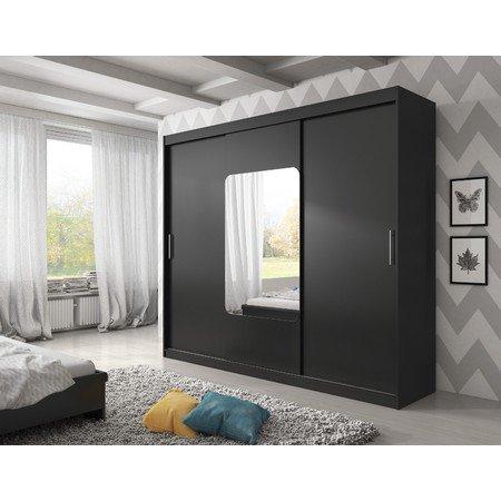 Kvalitní šatní skříň KOLA 8 černá šířka 250 cm Včetně LED osvětlení