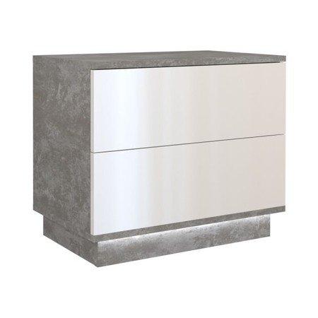 Noční stolek Sela S2 beton/bílý lesklý včetně led osvětlení