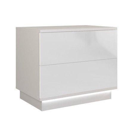 Noční stolek Sela S2 bílý lesklý včetně led osvětlení