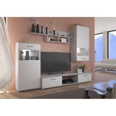 Obývací stěna ONTARIO bílá Bez LED osvětlení
