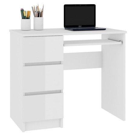 Počítačový stůl A-6 bílý lesk levá