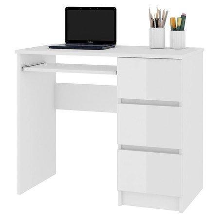 Počítačový stůl A-6 bílý lesk pravá