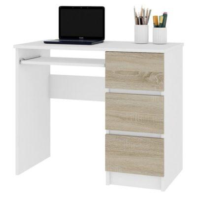 Počítačový stůl A-6 pravá bílá/sonoma