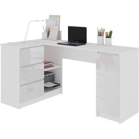 Počítačový stůl B-20 lesklá bílá levá