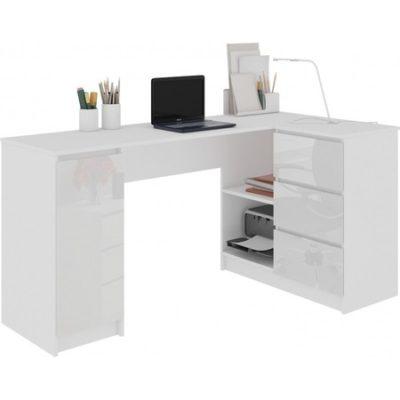Počítačový stůl B-20 lesklá bílá pravá