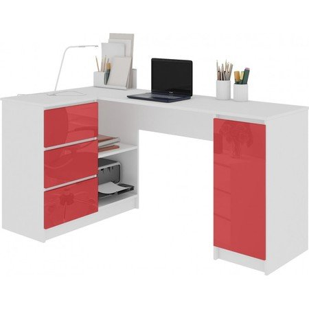 Počítačový stůl B-20 lesklá červená levá