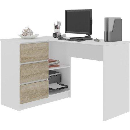 Počítačový stůl B16 levá bílá/sonoma