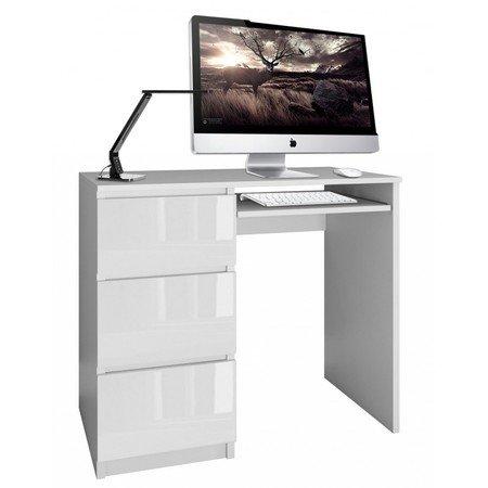 Počítačový stůl LIMA bílý lesk levá