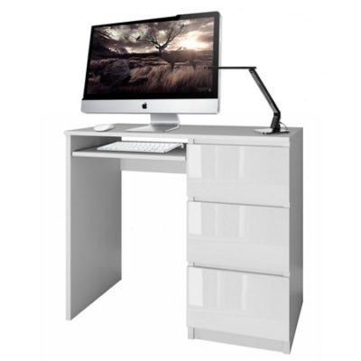 Počítačový stůl LIMA bílý lesk pravá
