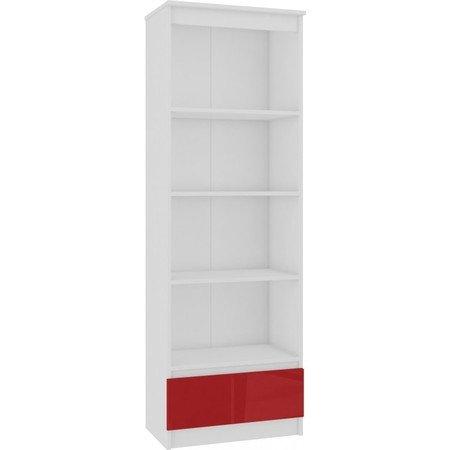 Regál R 60 cm CLP 1 zásuvka 4 poličky červený lesk