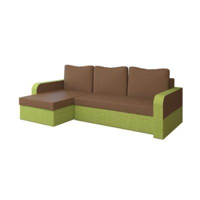 Rohová rozkládací sedací souprava RAIN Hnědá/zelená