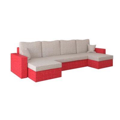 Rohová rozkládací sedací souprava RUMBA Krémová/červená