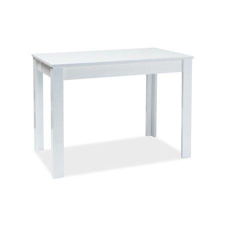 Rozkládací jídelní stůl ALBERT 120x68 bílý lesk