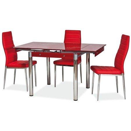 Rozkládací jídelní stůl GD082 červená/chrom