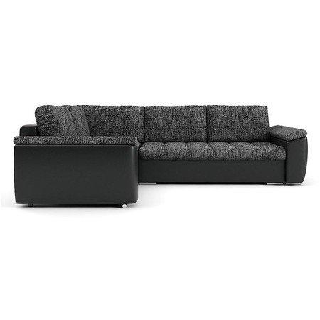 Rozkládací rohová sedací souprava VEGAS 245/195 Tmavě šedá/černá eko-kůže Levá
