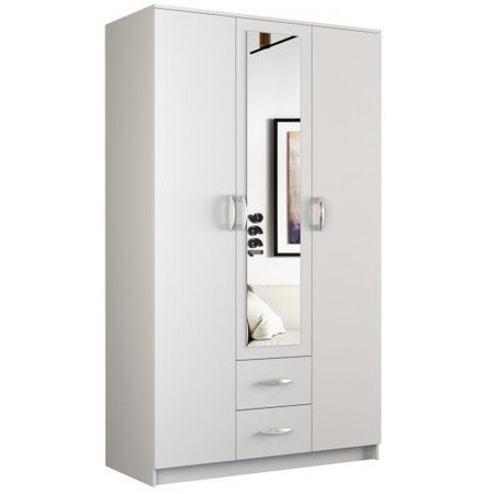 Šatní skříň Romana se zrcadlem 120 cm bílá