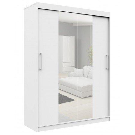 Šatní skříň posuvná 150cm CLP se zrcadlem bílá