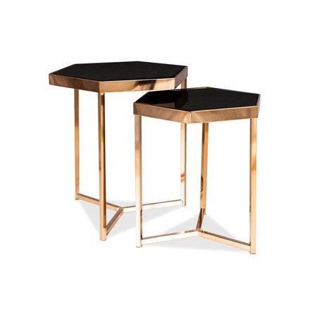 Set konferenčních stolků MILOS zlatá/černá