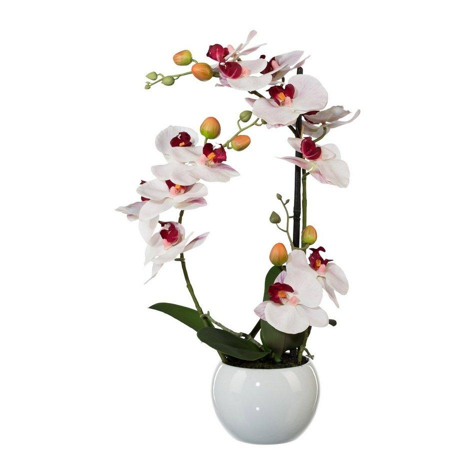 Umělá Orchidej v keramickém květináči bílá