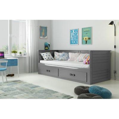 Výsuvná dětská postel HERMES šedá 200x90 cm