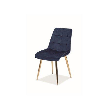 Židle CHIC zlatá/tmavě modrá