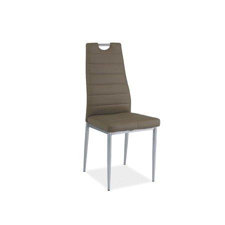 Židle H260 chrom/tmavá béžová eko-kůže