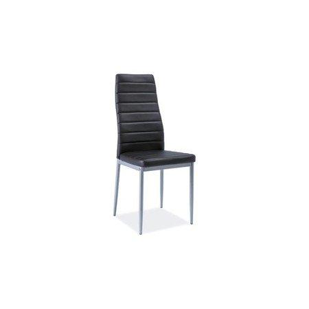 Židle H261 hliník/černá eko-kůže