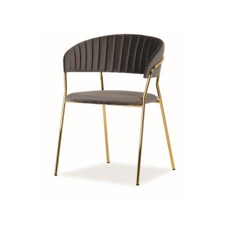 Židle LIRA zlatá/šedá