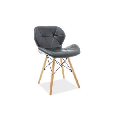 Židle MATIAS buk/černá eko-kůže