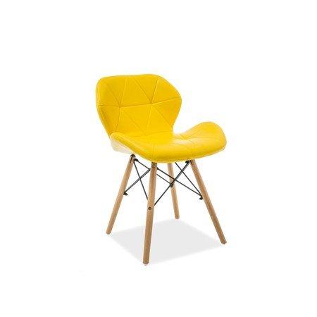 Židle MATIAS buk/žlutá eko-kůže