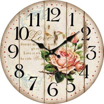 Dřevěné nástěnné hodiny Flower of love