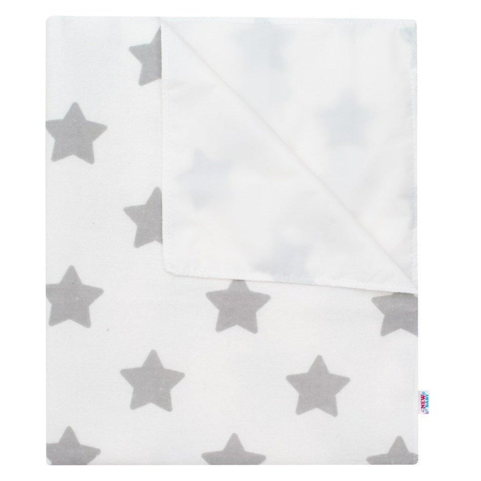New Baby Nepromokavá flanelová podložka Hvězdičky bílá