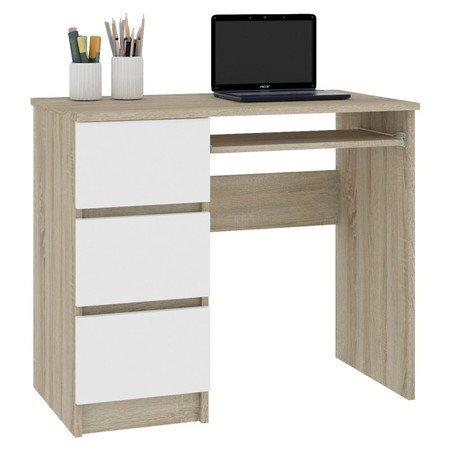 Počítačový stůl A-6 levá bílá/sonoma