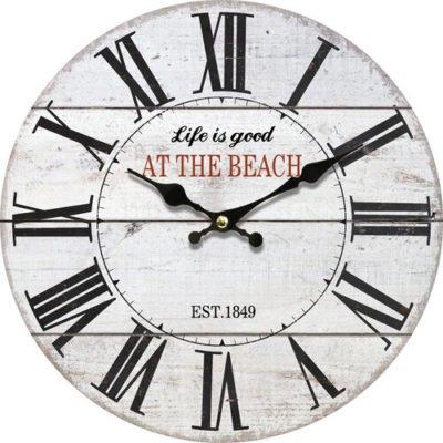 Dřevěné nástěnné hodiny At the beach