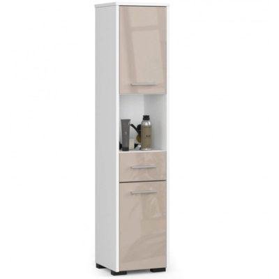 Koupelnová skříňka Fin 2D 1SZ 1W bílá/cappuccino lesk