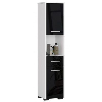 Koupelnová skříňka Fin 2D 1SZ 1W bílá/černá lesk