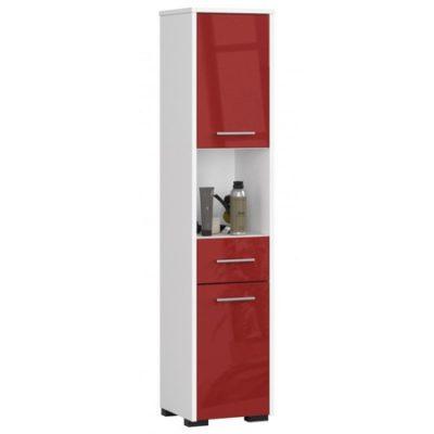 Koupelnová skříňka Fin 2D 1SZ 1W bílá/červená lesk