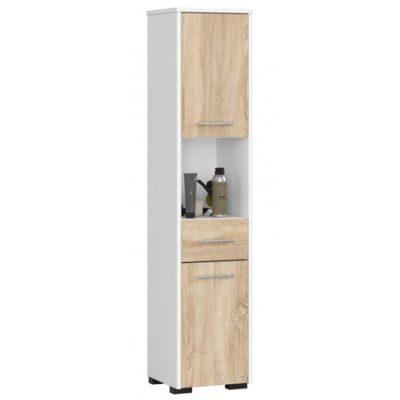 Koupelnová skříňka Fin 2D 1SZ 1W bílá/dub sonoma