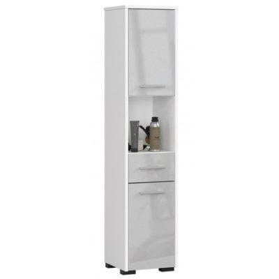 Koupelnová skříňka Fin 2D 1SZ 1W bílá/metalic lesk