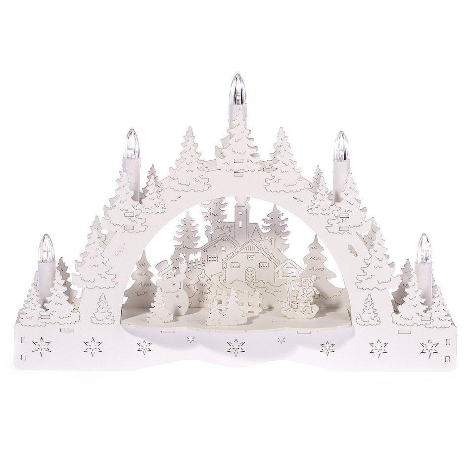 Vánoční LED svícen Zimní krajina
