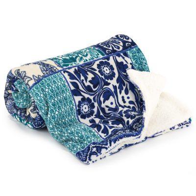 4Home Beránková deka Flowers modrá