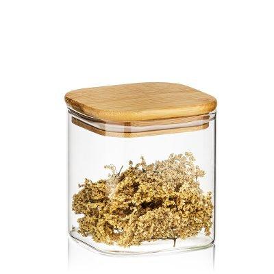 4Home Skleněná dóza na potraviny s víkem Bamboo