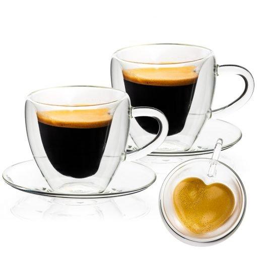 4Home Termo sklenice šálek s podšálkem Heart Hot&Cool 150 ml