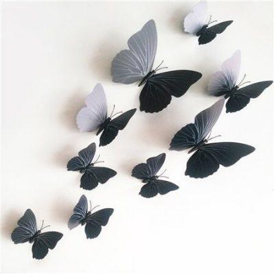 Samolepicí 3D motýlci s magnetem černá