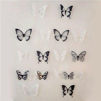 Samolepicí 3D motýlci černo-bílá